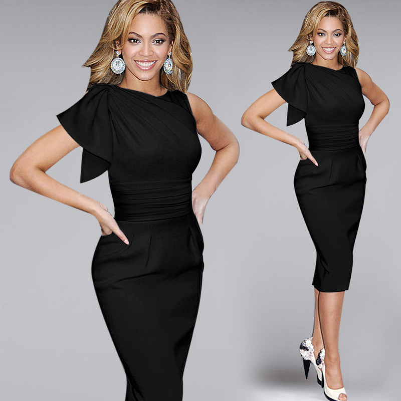 New 2015 Womens Celebrity Elegant Vintage Pinup Bow Ruched Tunic Business Casual Cocktail Party Prom Bodycon Dress