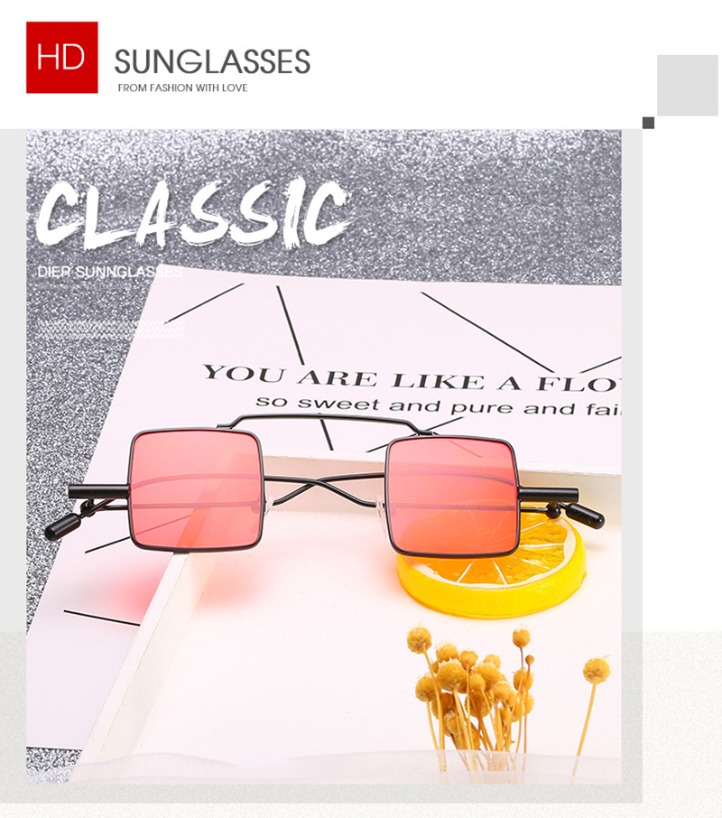 Retro Square Small Frame Designer Ladies Women Mirror Shades Eyewear