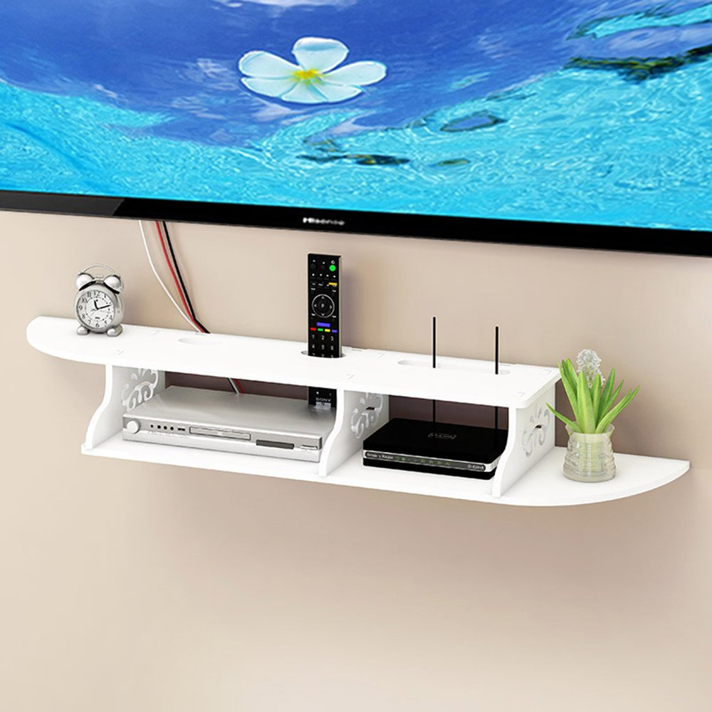 Ogori 2 Tier Wall Mounted Floating Shelves DVD Shelf Storage Rack for DVD Players / Cable Boxes / Game Consoles and TV remote(white)