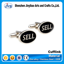 high quality custom logo engraved oval shape buy sell letter cufflinks