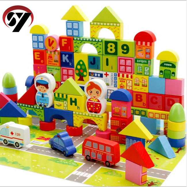 Factory direct children's building blocks 160pcs educational toys to learn <strong>city</strong> transport wooden building blocks