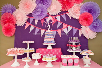 Pink And Purple Party Fans Dessert Table Party Ideas For Girl