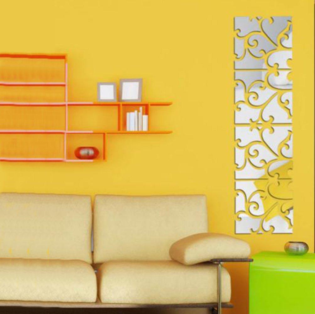 Towallmark 32pcs DIY 3D Removable Acrylic Mirror Decal Mural Wall Sticker