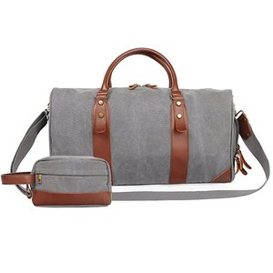 Canvas Leather Weekender Overnight Travel Carry On Bag