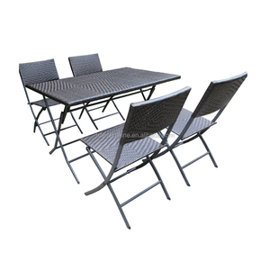 Foldable Outdoor Rattan/ Wicker Dinning set with 4 seats