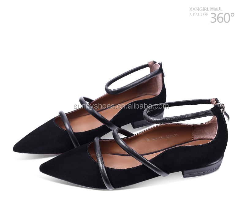 women ladies toe flat black Great pumps summer pointed shoes 4SWUq8