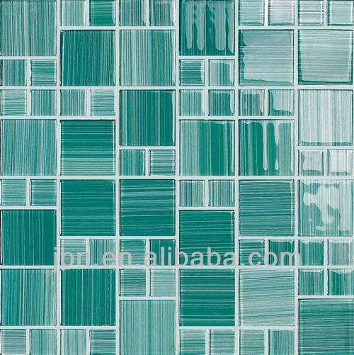green light lin pattern crystal glass mosaic china supplier