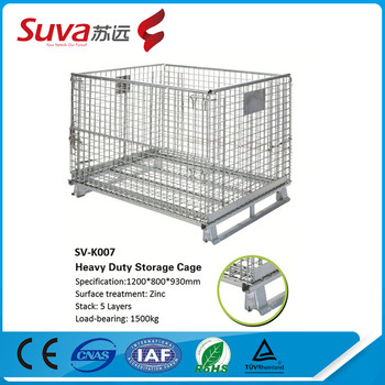 steel storage cages wire mesh pallet cage industrial metal storage bins - Metal Storage Bins