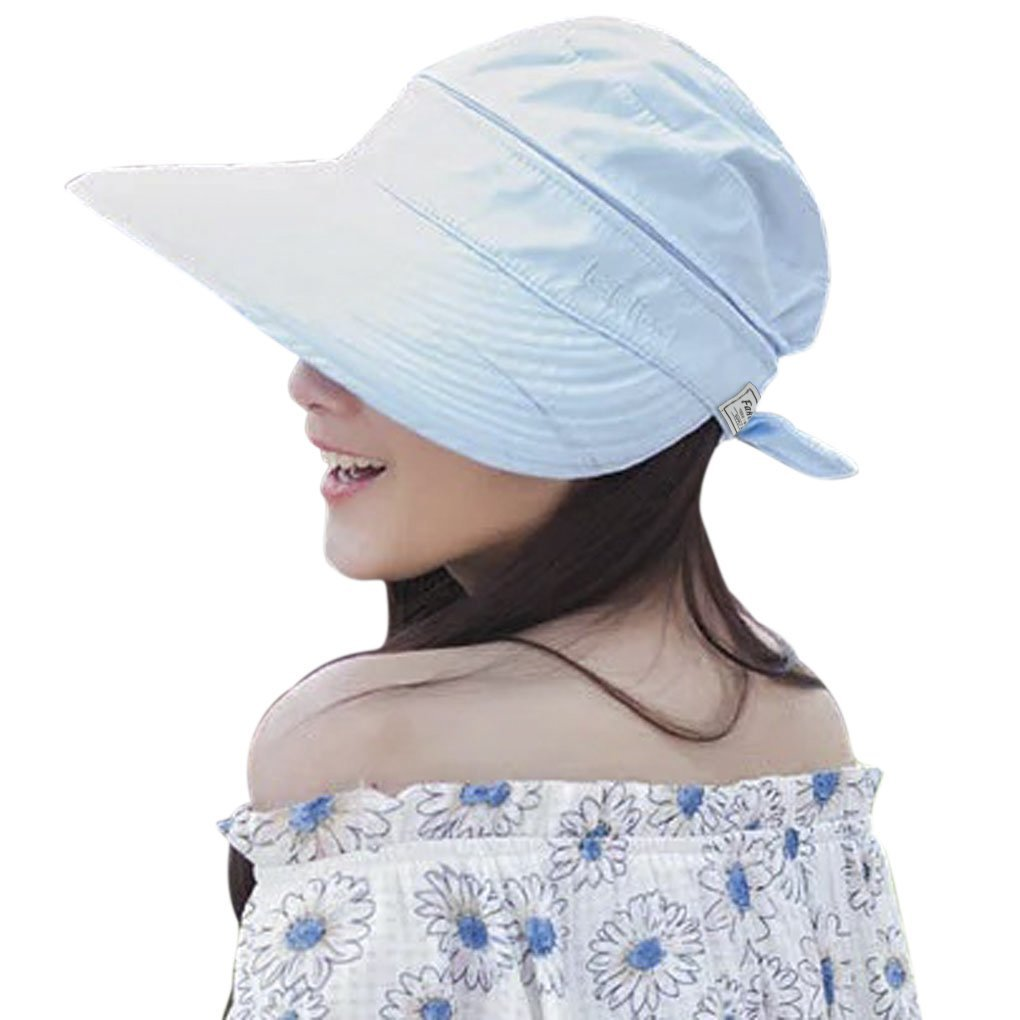 24fa83ba1df Get Quotations · Holiday Hat Korean Outdoor Travel Sun Protection Visor  Folding Dual -use Empty Top Hat Breathable