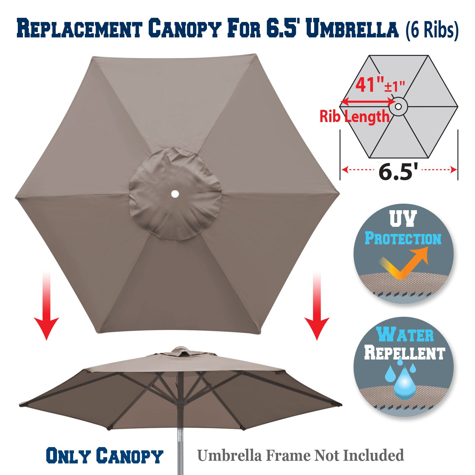 Get Quotations Benefitusa Replacement Umbrella Canopy Cover For 6 5ft Ribs Patio Market Only