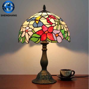 Factory price tiffany table lamp western union flower pattern tiffany table lamp