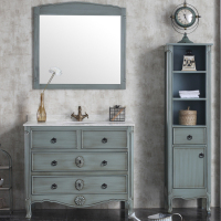 90cm Rustic Solid Wood Turquoise Bathroom Vanity Unit with Marble YXL-1801