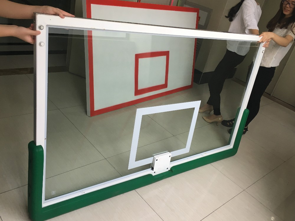 Training tempered glass basketball board part of basket ball hoop pole and base