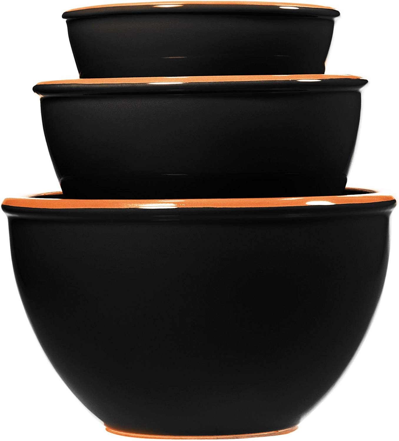 Home Essentials & Beyond Kitchenware Bakeware Ceramic Set of 3 Terracotta Black Mixing Prep Serving Nesting Bowls Kitchen Utensil Perfect For Serving Mixing, Whisking And Pouring