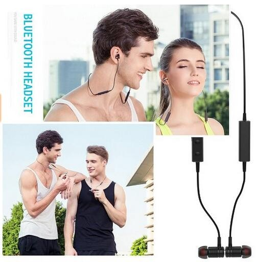Neckband sport earbuds smart magnetic waterproof bluetooth headset with good RF