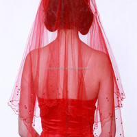 new arrival red 1 tier handmade beads edged elbow wedding accessories bridal veil