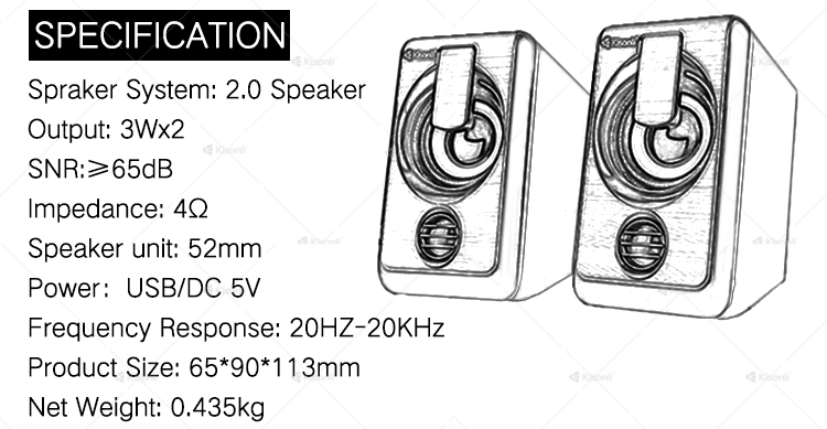 New Computer Speakers 2.0 usb wired woofer speaker no battery for laptop pc