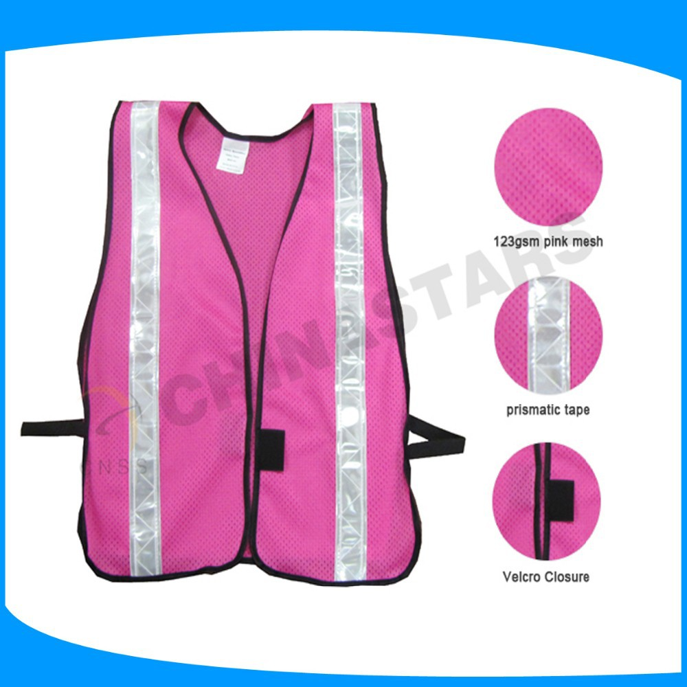 Hi-vis Pink Safety Vest With 2 Horizontal 5cm Tape For Women Girls ...