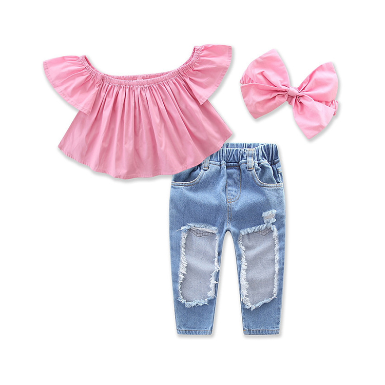 0a16dd816e5b3 Baby Girls Clothing 3pcs Set Princess Pink Short Sleeve T-shirts and Jeans  Suits Kids Girl Party Beach Clothes Outfit, View baby girls clothes, Brand  ...