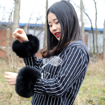 CX-A-11C Luxury style Real Fox Fur Slap On Cuffs winter fashion women fox fur cuff