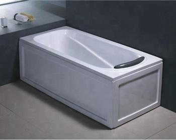 Corner Install Rectangular Acrylic Deep Soaking Bathtub Double Apron