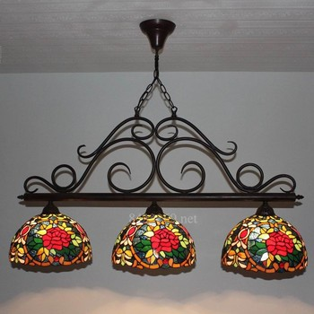 12inch American Country style of art lamp made by stained glass with Three Head Droplight