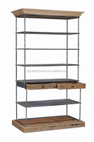 industrial metal frame wall shelf with drawer