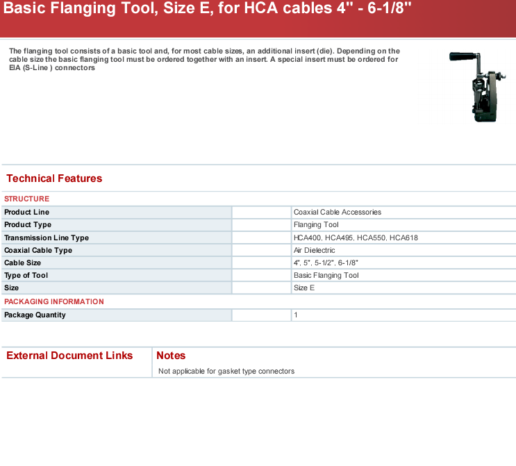 Ftool-e400618,Rfs Basic Flanging Tool,Size E,For Hca Cables 4\
