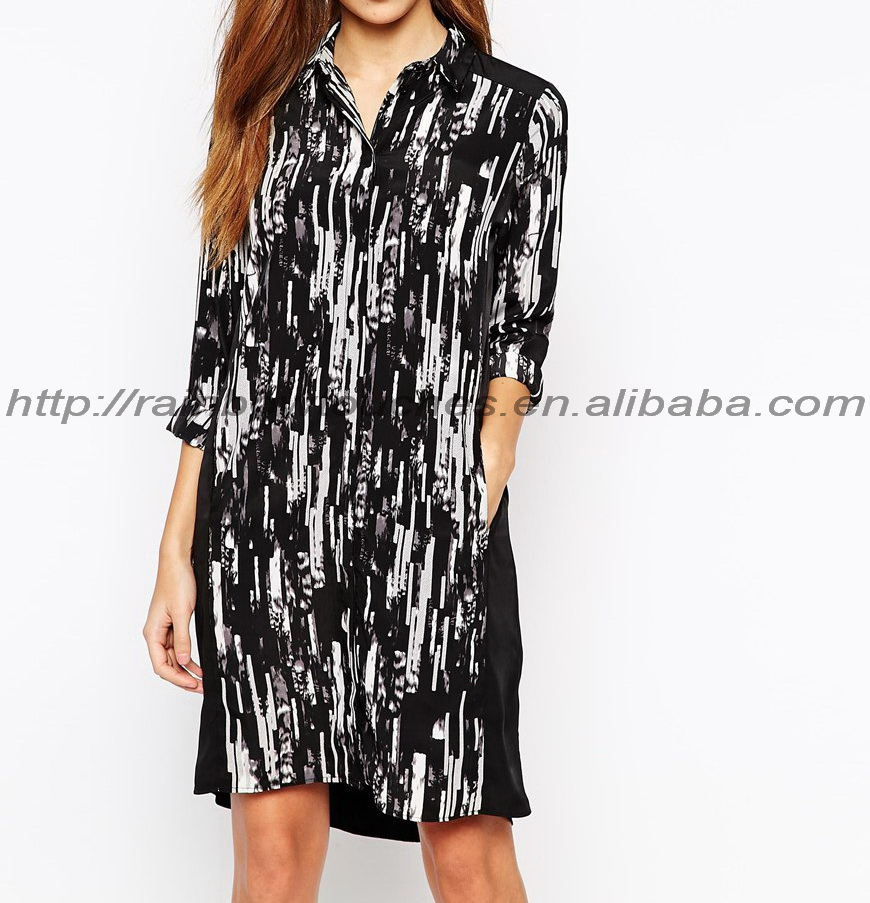 High quality top pockets scratchy shirt dress printed