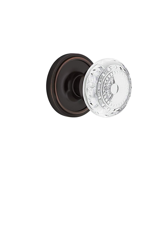 "Nostalgic Warehouse 753063 Classic Rosette Passage Crystal Meadows Door Knob, Backset Size: 2.75"", Timeless Bronze"