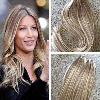 Brazilian Jungfrau Haarverlängerungen Mixed Tape Haare Braunblond