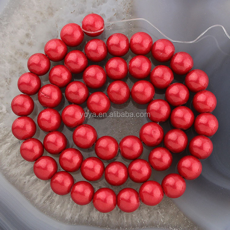 YJ1167 Hotsale red plated jade round stone beads jewelry suppiles