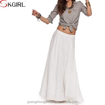 d039a4688 Plus size A-line elastic waist beach boho pleated maxi skirts faldas saia  women summer