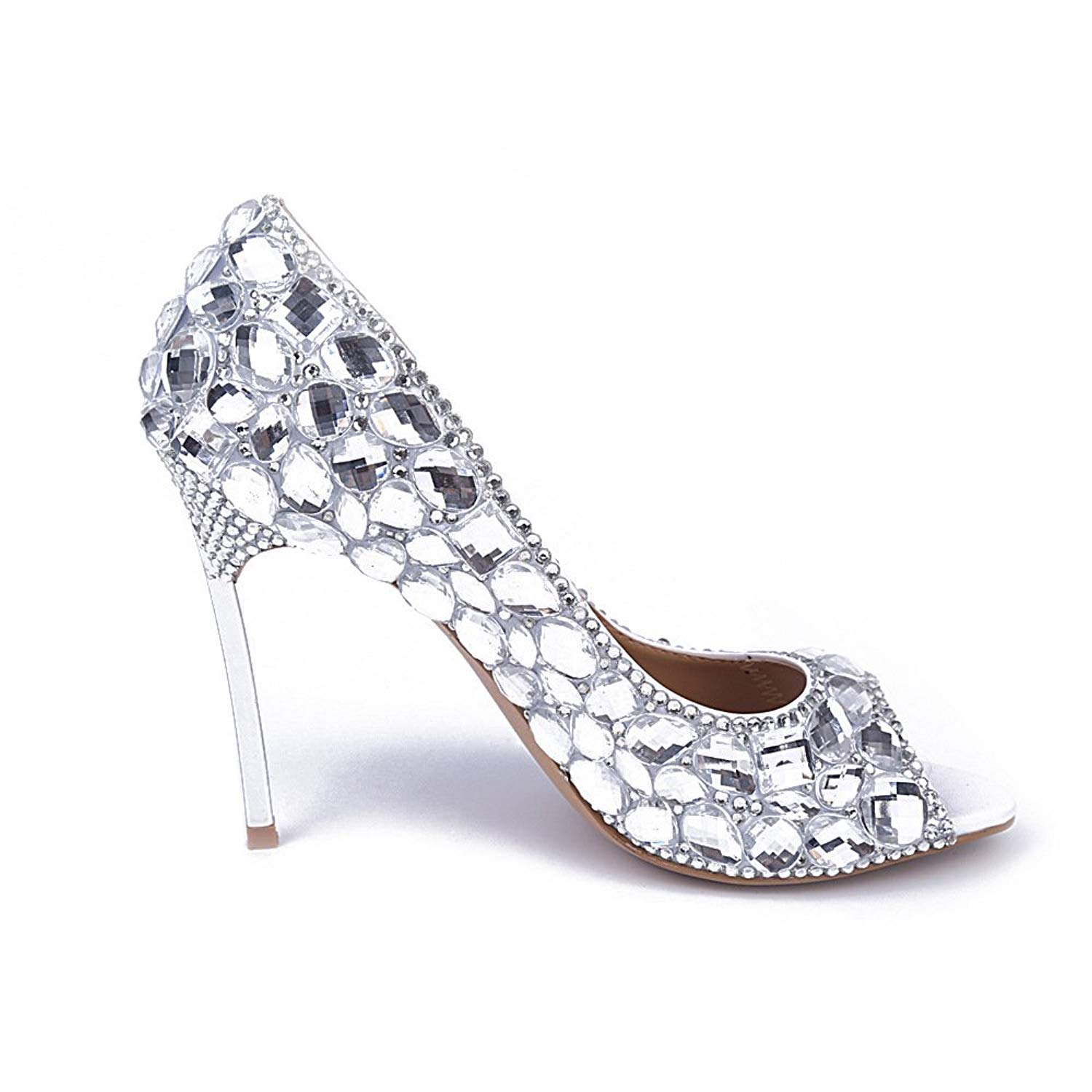 Shoemaker'S Heart High Heeled Shoes Heels Silver Pearl Diamond Crystal Diamond Wedding Bride Shoes Shoes Single Party Super High Heels