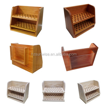 Customized trapezoidal counter top wooden essential oil display rack
