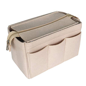 Large Space handmade insert makeup organizer felt cosmetic bag with cover