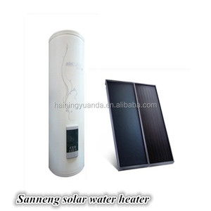 Split pressurized flat panel solar water heater for house heating system