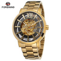 horloge Forsinging al por mayor reloj stainless steel case strap gold and silver skeleton automatic man wrist watches