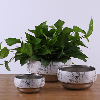 Unique Marbling Silver planter bright flower pot planter ceramic flower pot planter