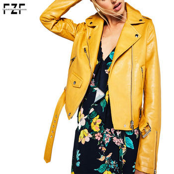 4796f2339 Wholesale Custom Made Long Sleeve Plain Mustard Color Woman Faux Leather  Biker Jacket - Buy Faux Leather Jackets Women,Mustard Color Leather ...