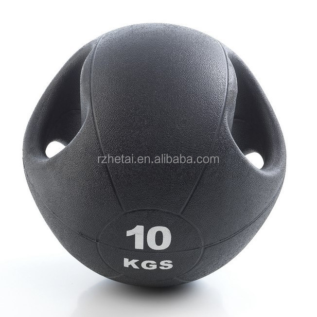 Double grip PVC medicine gym ball with handle