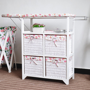 White Wooden Folding Ironing Board Storage Cabinet With Wicker Baskets