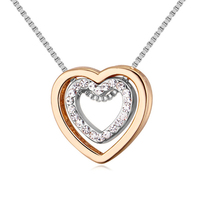 2019 New Trendy Ladies Elegant Dress Choker Necklace Jewelry Chain Double Heart Crystal Pendant Necklace For Women kolye collar
