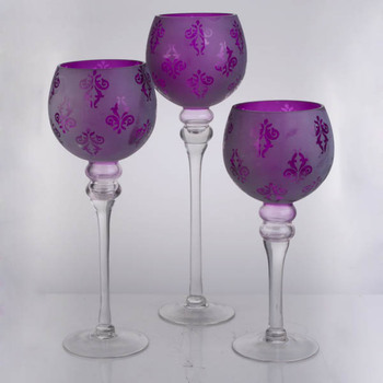 Set 3 Purple Etched Gl Candle Holder With Long Stemmed