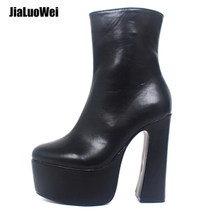 1198c309f6bb Women Retro 15CM High Chunky Block Heel Lace Up Ankle Boots Punk Gothic Platform  Boots Big