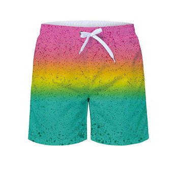 summer beach shorts boys color block drawstring swim trunks