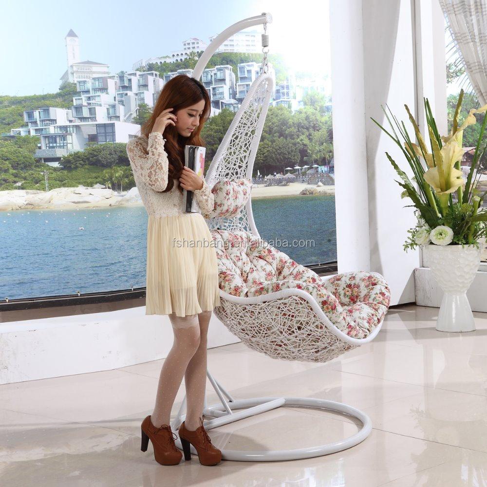 Swing Chair In Bedroom Wholesale Best Sale White Brown Grey Moon Shape Rattan Swing Chair