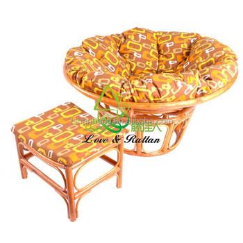 Rattan Cane Wicker Papasan Mamasan Radar Chair With Microsuede Cushion