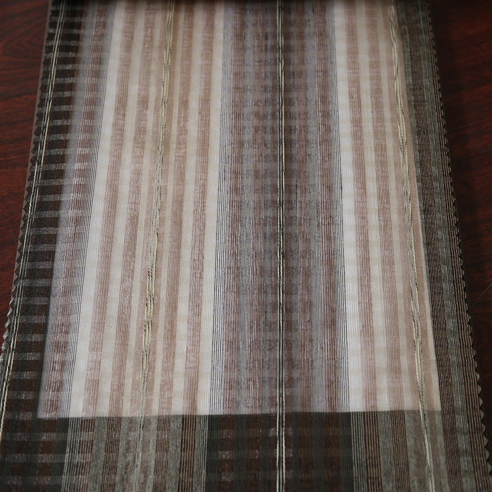Wholesale Turkish jacquard vertical stripe tulle chiffon for readymade curtains