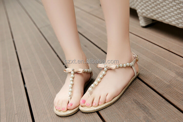 Latest Girls Pearl Flats Sandal New Designer Girls Beading Sandals ...